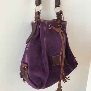 Dooney and Bourke purple suede bucket bag
